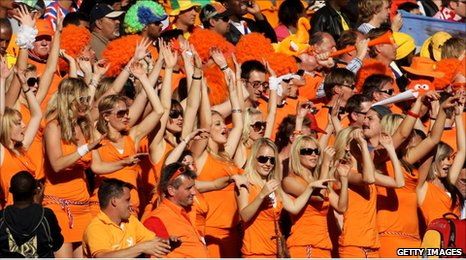 Dutch women fans at the match against Denmark in Soccer City, Johannesburg, 14 June