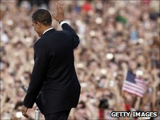 Barack Obama addresses crowds in Berlin, July 2008
