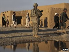 A US soldier in Kandahar, Afghanistan, 14 June
