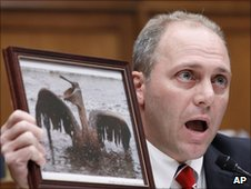 Representative Steve Scalise holds photo of an oiled bird