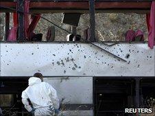 Scene of bomb attack near Istanbul, 22 June 2010
