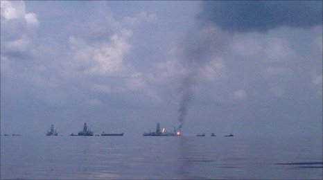 Spill site in the Gulf of Mexico (BBC)