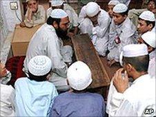 Students at a Pakistani madrassa