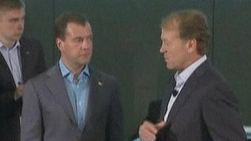 Russian President Dmitry Medvedev at Cisco Systems, California