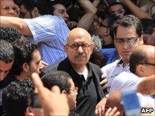 Mohamed ElBaradei attends a demonstration in Alexandria, 25 June