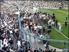 Leppings Lane end of the Hillsborough Stadium at 1507 BST