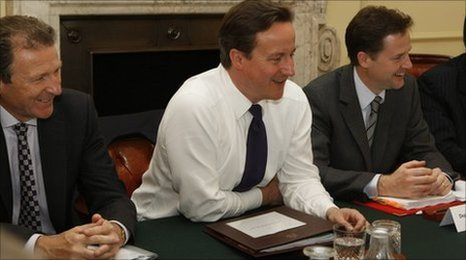 Sir Gus O'Donnell, David Cameron and Nick Clegg