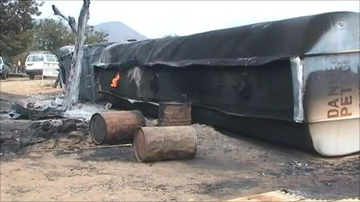 Aftermath of oil tanker explosion