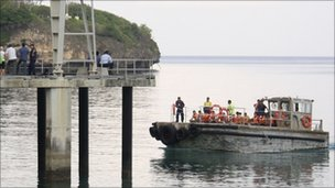 Patrol boat transporting suspected illegal immigrants to an Australian government immigration detention centre on Christmas Island