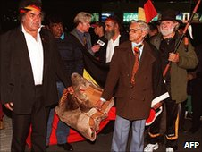 Campaigners at Perth airport in 1997