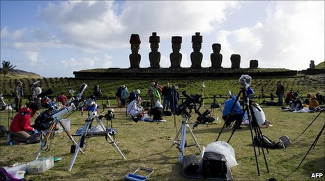 Eclipse watchers on Easter Island