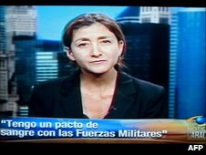 """Ingrid Betancourt speaking to Caracol on 11 July with the caption """"I have a blood pact with the military"""""""