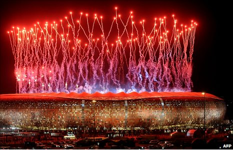 Fireworks light up the sky over Soccer City stadium after the 2010 Fifa World Cup final