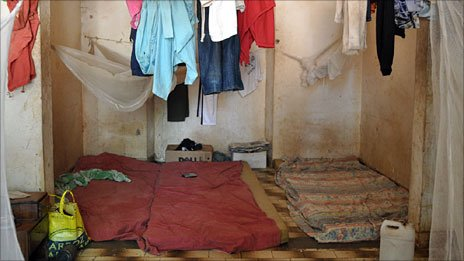 Prisoners' mattresses on the floor at a detention centre in Bissau