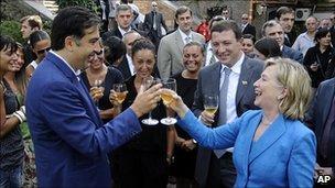 US Secretary of State Hillary Clinton and Georgian President Mikhail Saakashvili