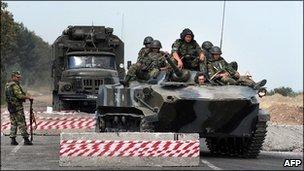 Russian troops in Georgia in August 2008
