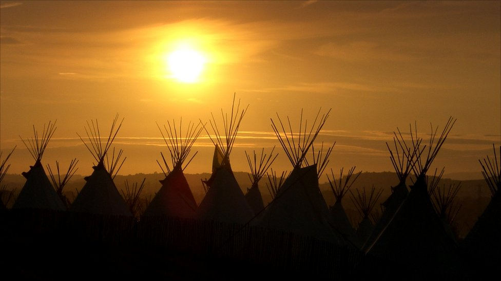 Sunset over the tipi field at Glastonbury
