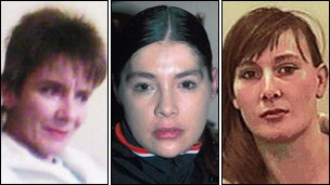 Bradford prostitutes (left to right) Susan Rushworth, 43, Suzanne Blamires, 36, and Shelley Armitage, 31