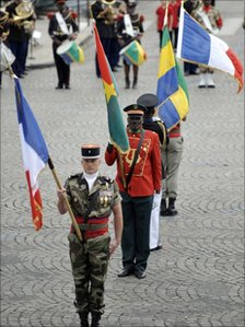 Flag bearers at the Bastille Day parade in Paris on 14 July, 2010