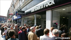 Customers of Northern Rock queue outside the Kingston branch