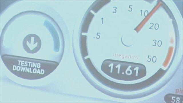 Broadband speed display