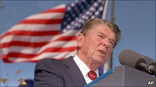 File photograph of Ronald Reagan in 1991