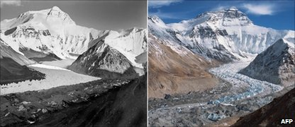 The 1921 photo (left) and the photo taken from the same position in 2010