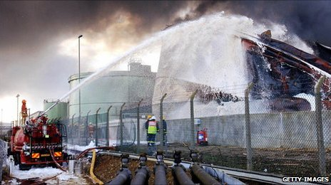Firefighters try to put out the Buncefield fire