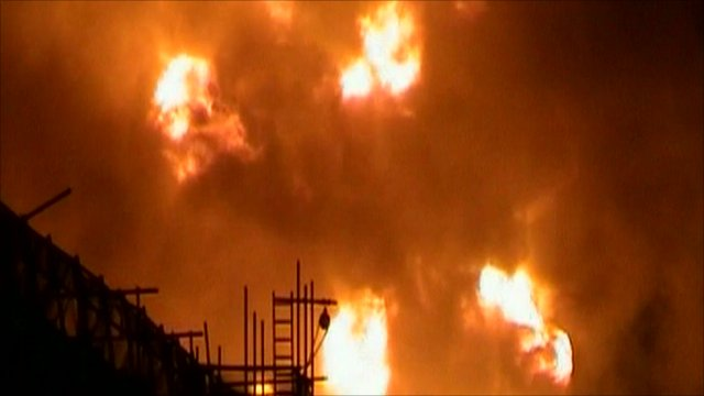 The Buncefield oil depot on fire