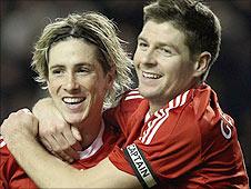 Liverpool striker Fernando Torres (left) and Reds skipper Steven  Gerrard