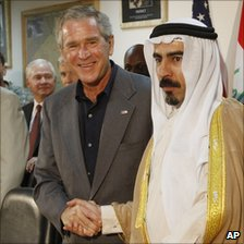 Sheikh Abdul Sattar Abu Risha (right) met US President George W Bush when he visited Iraq in September 2007