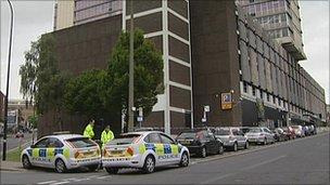 Police outside Niche nightclub, Sheffield