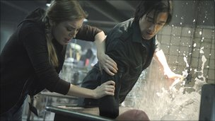 Sarah Polley, Adrien Brody and creature in Splice