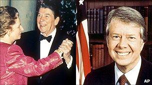 Ronald Reagan dancing with Margaret Thatcher; Jimmy Carter