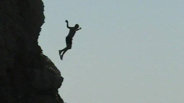A man tombstoning