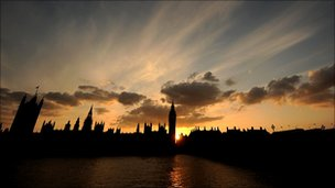 The Houses of Parliament at dusk