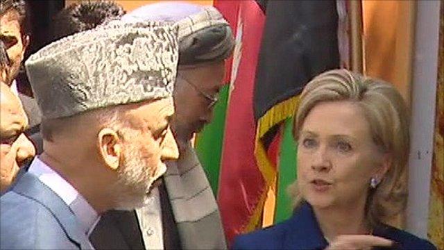 President Hamid Karzai and US Secretary of State Hillary Clinton