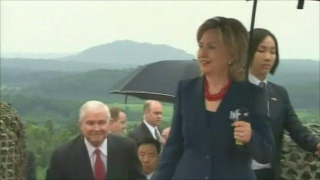Hillary Clinton and Robert Gates in the Demilitarized Zone separating North and South Korea