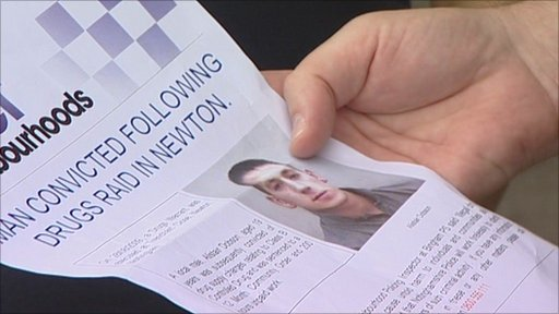 Nottinghamshire police leaflet with image of convicted drug dealer