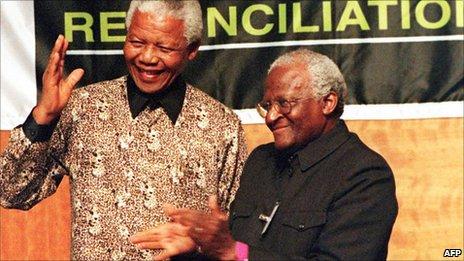 Nelson Mandela and Desmond Tutu photographed on 29 October 1998
