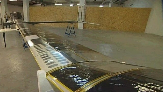 Wing of proto-type solar-powered plane