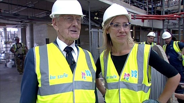 1948 Olympic veteran Tommy Godwin with the BBC's Sophie Raworth