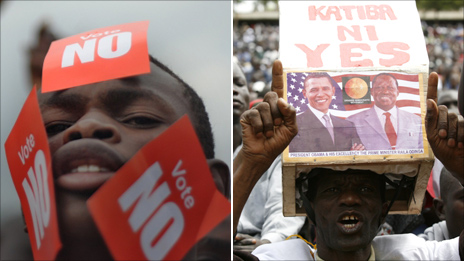 No and Yes campaigners: AFP and Reuters