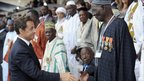 French President Nicolas Sarkozy meets African veterans of the French army