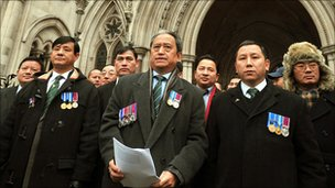 Gurkhas outside the High Court