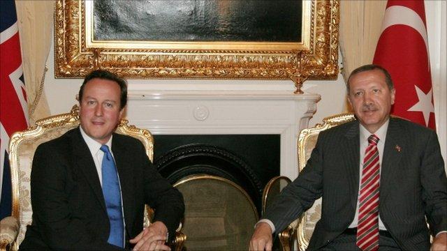 Turkey's Prime Minister, Tayyip Erdogan and Britain's Prime Minister David Cameron