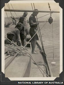 Old photo of mariners deploying Secchi disk