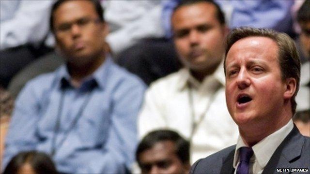 David Cameron gives a speech in India