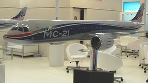A model of the MS-21 plane