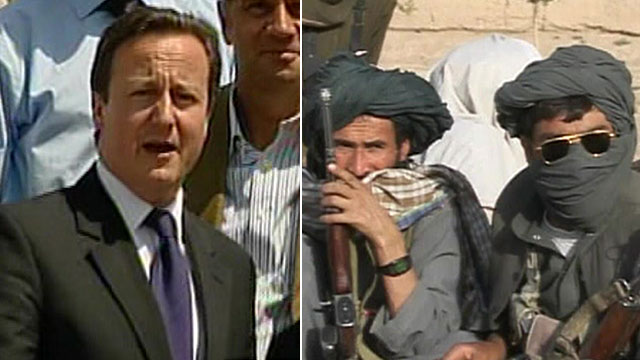 David Cameron on left, Taliban agents on right